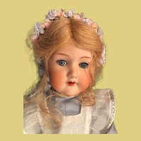"Darling 19"" tall antique German bisque doll is totally ready for display"