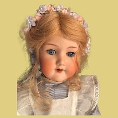 """Darling 19"""" tall antique German bisque doll is totally ready for display"""