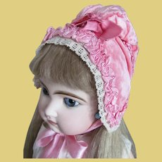 Extra cute pink velvet bonnet for antique doll
