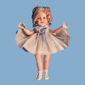 """Pristine Clothing 18"""" Shirley Temple composition doll in box 1930's"""