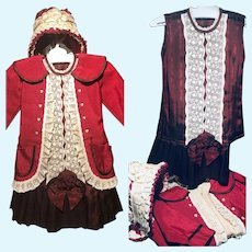 "3 pc German doll clothing dress, jacket, bonnet for 23"" doll"