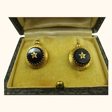 Rare Antique French Napoléon III Dormeuses Earrings 18k Gold, Jet & Pearl ~ c1860