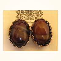 Vintage Bohemian Glass Earrings 1940s West German
