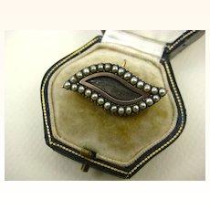 Rare Georgian c1800 Lovers Eye Mourning Pendant, Brooch Pearl 15ct Gold ~ Superb