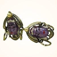 Vintage Selro Asian Princess Earrings ~ Rare Amethyst Color
