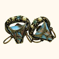 Superb Vintage Selro Unsigned Pirate Ultra Rare Earrings Blue and Gold Aventurine Glass ~ 1950s