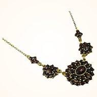 Fine Art Nouveau Garnet 900 Silver Necklace ~ c1920s