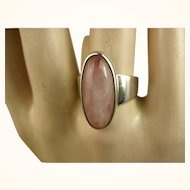 N E From Denmark Modernist Sterling Rose Quartz Ring Niels Erik From ~ c1960s