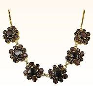 Vintage Stunning Garnet Gold Filled Necklace ~ c1950