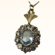 Fine Art Deco Aquamarine Silver Pendant and Chain ~ c1920s
