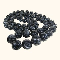 Antique Superb Victorian Whitby Jet Carved Bead Mourning Necklace ~ Opera Length ~ c1860s