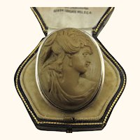 Antique Victorian Hugh Relief Lava Oval Cameo 800 Silver Brooch ~ c1870