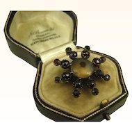 Rare Georgian Moss Agate Garnet Collar Pin Pendant in 15k Rose Gold ~ c1800s