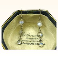 Superb Antique Edwardian Silver and Moonstone Delicate Pendant Earrings ~ c1900