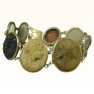Antique Victorian Silver Superbly Carved Lava Cameo Bracelet ~ c1860s