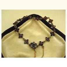 Fine Art Deco Garnet Gold Fill Bracelet ~ c1930s