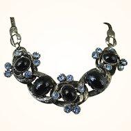 Rare Selro Vintage Unsigned Blue Rhinestone Black Cabochon Necklace ~ Stunning Book-piece