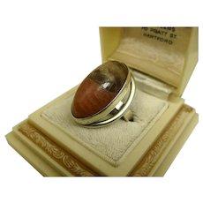 N E From Denmark Modernist Sterling Silver Jasper Ring Niels Erik From ~ c1960