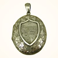 1880's Victorian Mourning Chased Silver Locket ~ Rare Tintype Child and 'Hidden Mother'
