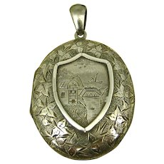 Superb Antique Victorian Mourning Chased Silver Locket ~ Rare Tintype Child and 'Hidden Mother' ~ c1880s