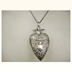 Rare Antique French Repoussé Cherub Sterling Silver Heart Locket and Chain ~ c1860 - 1880