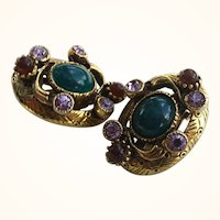 Rare Selro Vintage Unsigned Serpent Earrings ~ c1950s
