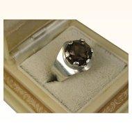 Vintage Kultaseppa Salovaara Ky Modernist Smoky Quartz Silver Ring ~ 1960s ~ Finland