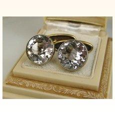 Vintage Russian 875 Silver Rock Crystal Cufflinks ~ c1950s