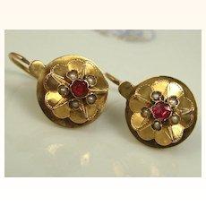 Antique French Napoleon III Dormeuses Earrings 18 k Gold, Pearl Garnet ~ c1860