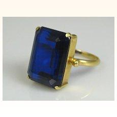 Superb Art Deco 18k Gold 8 Carat Sapphire Solitaire Ring ~ c1920
