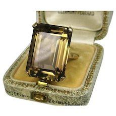 Stunning Huge Estate Smoky Quartz Solitaire 9 Carat Gold Ring ~ Superb