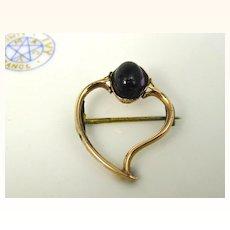 Antique Georgian English 15K Gold Amethyst Witch Heart Pin Brooch ~ c1780
