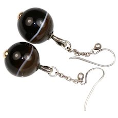 Antique Victorian Scottish Banded Agate and Silver Earrings ~ c1850