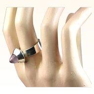 Fine Modernist Kupittaan Kulta Finland Sterling Silver Rose Quartz Ring ~ c1960s