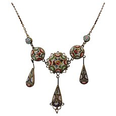 Fine Antique Millefiori Micro-Mosaic Italian Necklace ~ c1890 - c1900 - Red Tag Sale Item