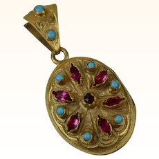 Antique French Pomponne Almandine Garnet and Turquoise Locket ~ c1890