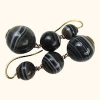 Antique Victorian Scottish Banded Agate 15k Gold Mourning Earrings ~ c1860