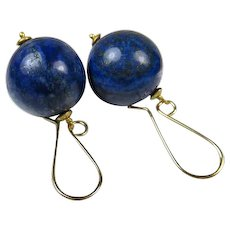 Exceptional Vintage Lapis Lazuli Large Gold Fill Earrings ~ c1980s