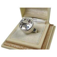 Modernist Scandinavian Sterling Rock Crystal Ring ~ c1960's