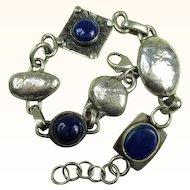 Fine Sterling Silver Arts and Crafts Design Lapis Lazuli Bracelet