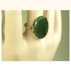 Fine Estate Spinach Jade Gold Ring ~ c1950