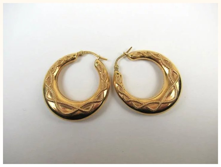 Superb 9k Gold Creole Large Estate Earrings C1930