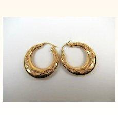 Superb 9K Gold Creole Large Estate Earrings ~ c1930