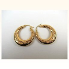 Superb 9K Gold Creole Large Estate Earrings ~ c1930