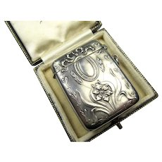 Antique Art Nouveau Silver Pendant Match Safe Vesta ~ 1900 - Red Tag Sale Item