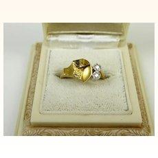 Superb Bjorn Weckstrom Lapponia 18k Gold and 950 Platinum Diamond Vintage Wedding Ring Finland
