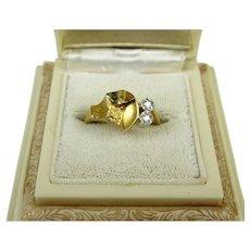 Superb Bjorn Weckstrom Lapponia 18k Gold and 950 Platinum Diamond Vintage Ring Finland