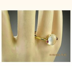 Very Fine Art Deco Moonstone Ruby 14K Gold Ring ~ Superb