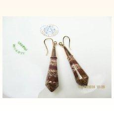 Antique Victorian 9K Rose Gold Scottish Agate Torpedo Drop Earrings ~ Rare