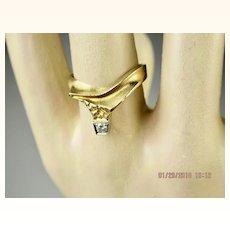 Superb Bjorn Weckstrom Lapponia 18k Gold Diamond and 950 Platinum Vintage Wedding Ring Finland
